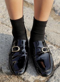 enamel belt loafer